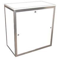 1m High lockable cupboard with shelf hire
