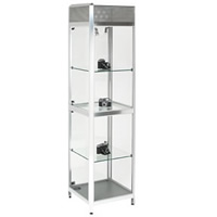 Tallboy Glass showcase cabinet - Lights & lockable hire