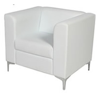 White Leather Chair - Single Mirage hire