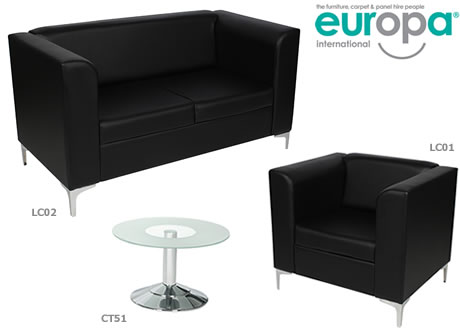 Black Leather Sofa - 2 Seater